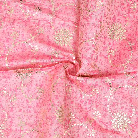 Pink and Silver Flower Pattern Chanderi Silk Fabric-9016