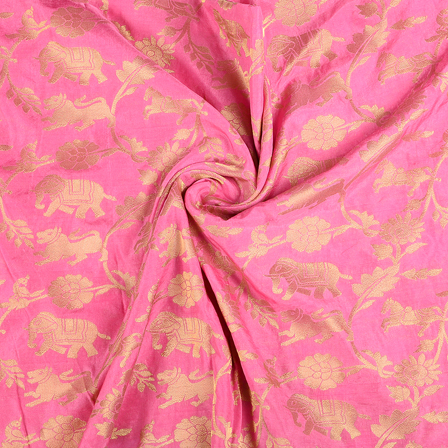 Pink and Golden Flower Satin Brocade Fabric-8590