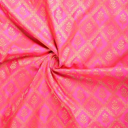 Pink and Golden Flower Silk Brocade Fabric-8616