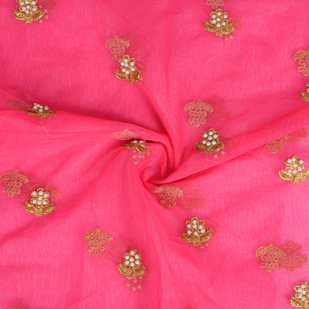 Pink and Golden Flower With Pearl Design Embroidery Net Fabric-60309