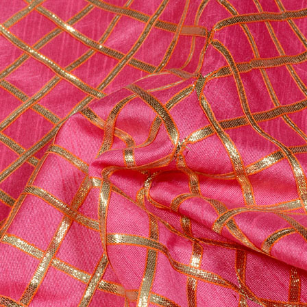Pink and Golden Gota Patti Square Pattern Brocade Silk Fabric-5426
