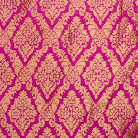 Pink and Golden Heavy Zari Work Brocade Silk Fabric by the yard