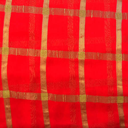 Pink and Golden Large Zari Checks Design Georgette Fabric-29001