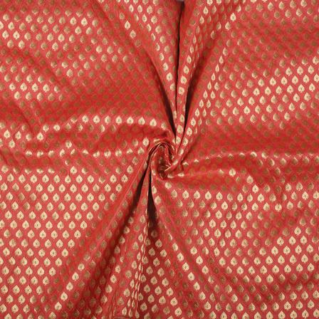 Pink and Golden Leaf Design Brocade Banarasi Silk Fabric-8482