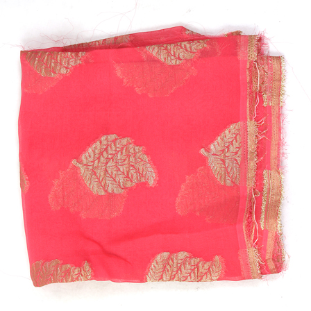 Pink and Golden Leaf Design Chiffon Fabric-29011