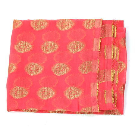 Pink and Golden Leaf Design Chiffon Fabric-29019