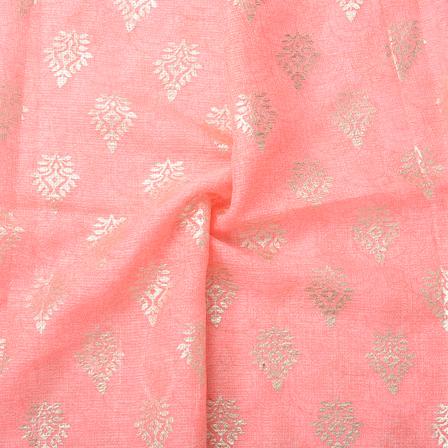 Pink and Golden Leaf Design Kota Doria Fabric-25064