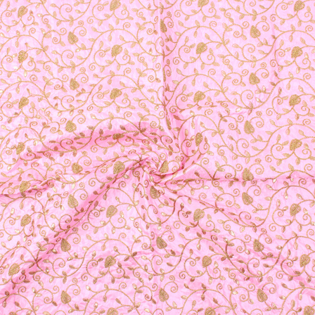 Pink and Golden Leaf Design Silk Embroidery Fabric-60112