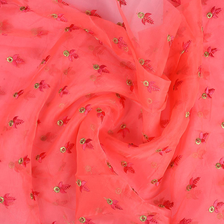 Pink and Golden Leaf Patter Embroidery Organza Fabric-50067