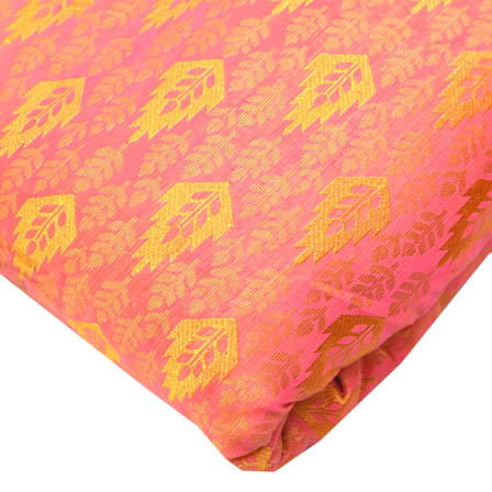 Pink and Golden Leaf Pattern Brocade Silk Fabric-8186