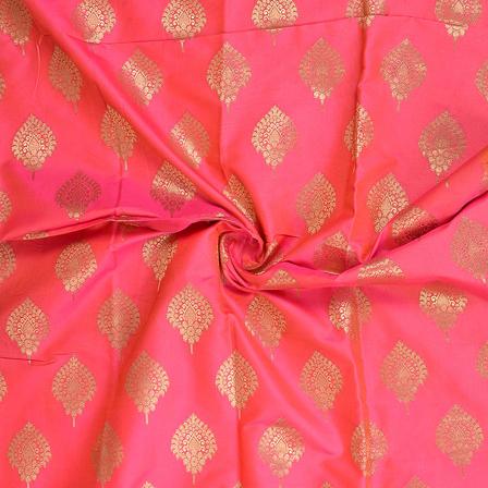 Pink and Golden Leaf Pattern Two Tone Banarasi Silk Fabric-8410