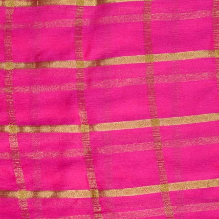Pink and Golden Lining Pattern Chiffon Indian Fabric-4359