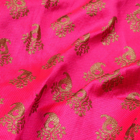 Pink and Golden Paisley Pattern Brocade Silk Fabric-5317