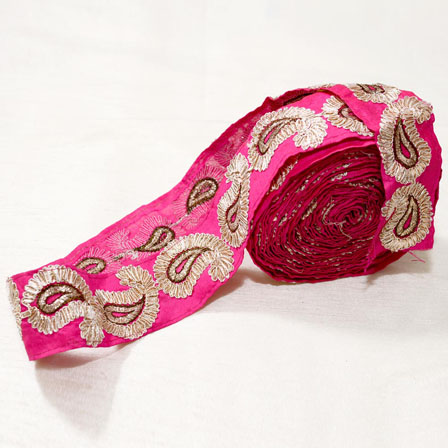 9 MTR Roll of Pink and Golden Paisley Pattern Ribbon indian Lace-4026