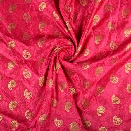 Pink and Golden Paisley Satin Brocade Fabric -8586