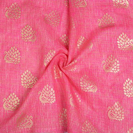 Pink and Golden Peacock Design Kota Doria Fabric-25099