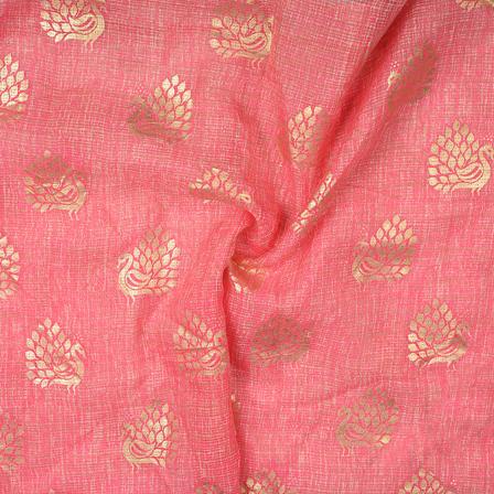 Pink and Golden Peacock Design Kota Doria Fabric-25103