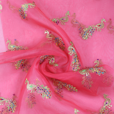 Pink and Golden Peacock Organza Embroidery Fabric-51412