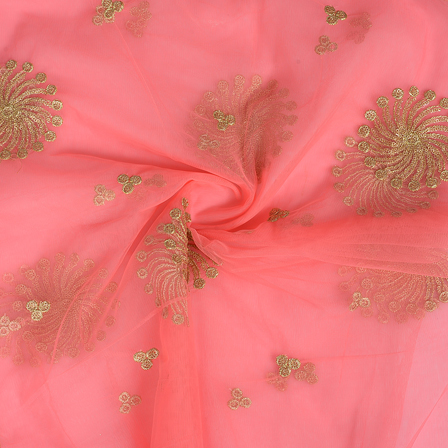 Pink and Golden Polka Design Embroidery Net Fabric-60302