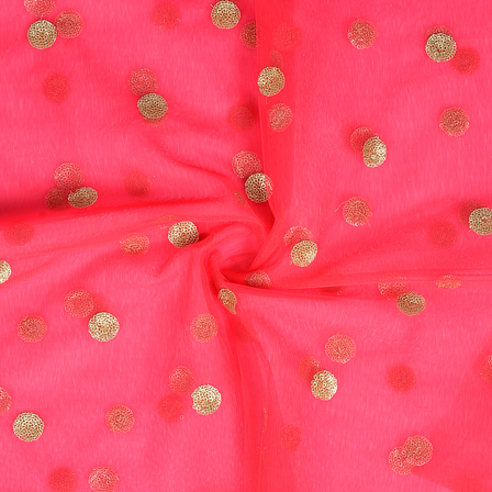 Pink and Golden Polka Design Embroidery Net Fabric-60316