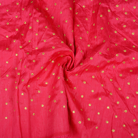 Pink and Golden Polka Design Silk Embroidery Fabric-60396