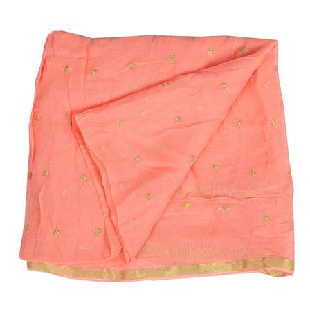 Pink Golden Polka Embroidery Chiffon Georgette Fabric-60385