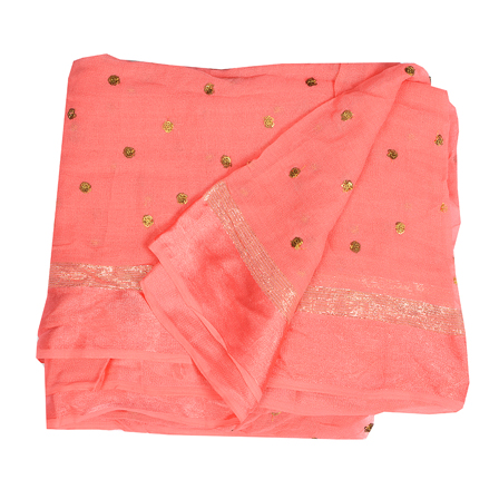 Pink Golden Polka Embroidery Chiffon Georgette Fabric-60389