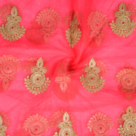 Pink and Golden Polka Pattern Embroidery Net Fabric-60292