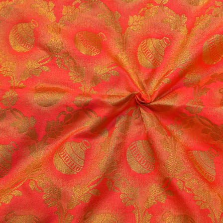 Pink and Golden Pot Pattern  Brocade Silk Fabric-8122