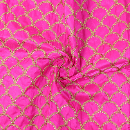Pink and Golden Semi Circular Design Silk Embroidery Fabric-60218