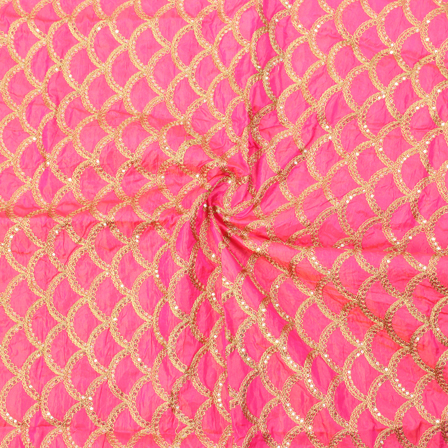 Pink and Golden Semi Circular Pattern Silk Embroidery Fabric-60143