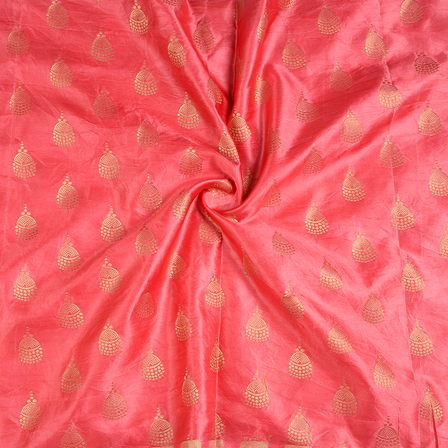 Pink and Golden Silk Satin Brocade Fabric-8674