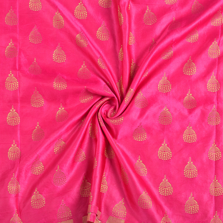 Pink and Golden Silk Satin Brocade Fabric-8693