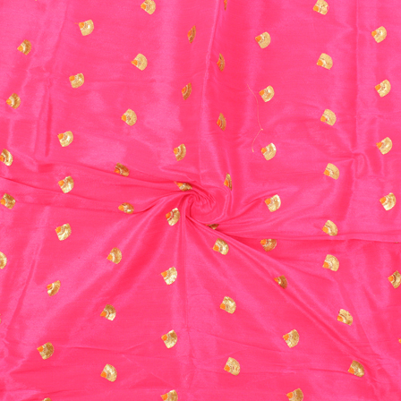 Pink and Golden Small Flower Design Silk Embroidery Fabric -60122