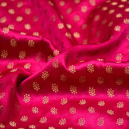 Pink and Golden Small Flower Shape Brocade Silk Fabric-5453