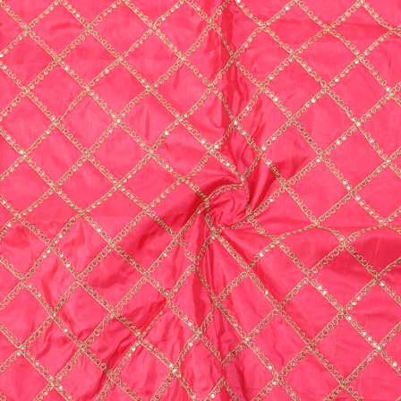 Pink and Golden Square Design Silk Embroidery Fabric-60142