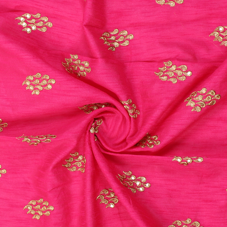 Pink and Golden Unique Design Silk Embroidery Fabric-60238
