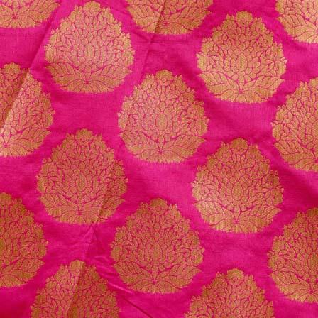 Pink and Golden Zari Circular Pattern Brocade Silk Fabric by the yard