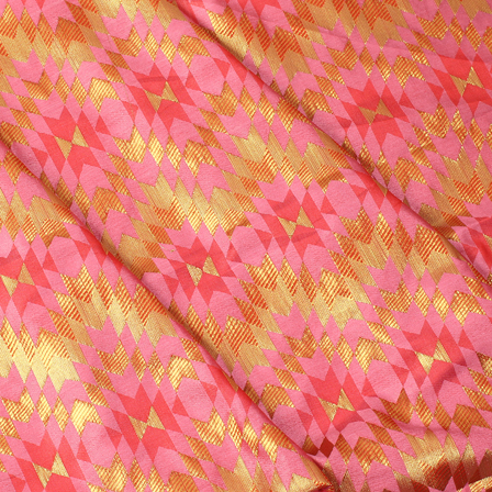 Pink and Golden Zig Zag Design Brocade Silk Fabric-8346
