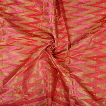 Pink and Golden Zig Zag Design Brocade Silk Fabric-8489