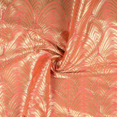 Pink and Golden Zig Zag Design Pure Banarasi Silk Fabric-8463