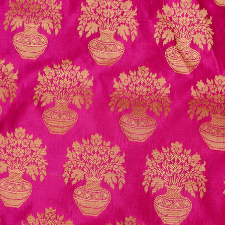 Buy pink and golden flower pot brocade silk fabric 4628 pink and golden flower pot brocade silk fabric 4628 mightylinksfo