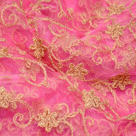 Pink and Golden leaf Pattern Embroidery Net Fabric-5252