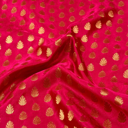 Pink and Golden leaf Shape Brocade Silk Fabric-5331