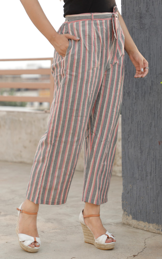 Pink and Gray White Cotton Khadi Stripe Pant with Belt-33630