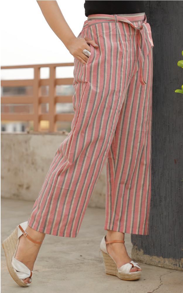 Pink and Gray White Cotton Khadi Stripe Pant with Belt-33632