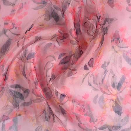 Pink and Green Flower Digital Organza Fabric-51237