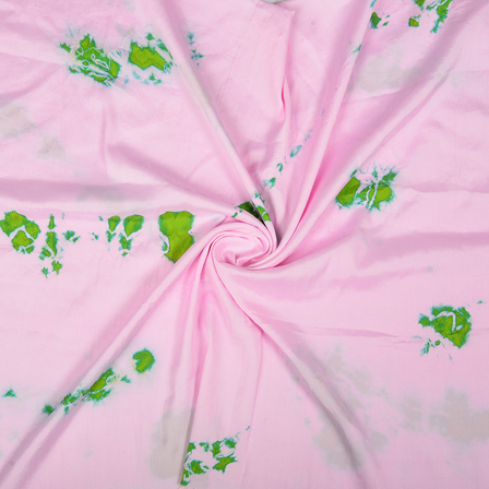 Pink and Green Batik Satin Fabric-32040