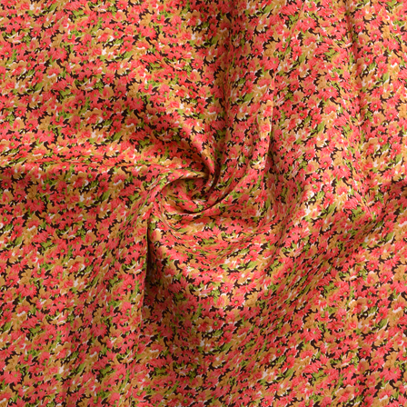 Pink and Green Floral Design Banglori Silk Fabric-4898