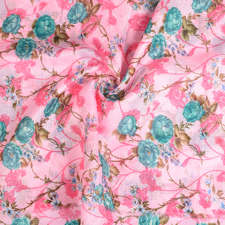 Pink and Green Flower Kota Doria Fabric-25115